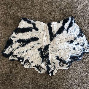 Surf Gypsy Boho Crochet Tie Dye Shorts